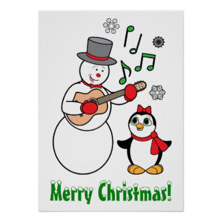 Merry Christmas Snowman, Penguin and Guitar Poster