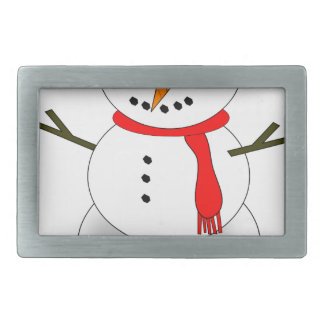Merry Christmas Snowman Rectangular Belt Buckles