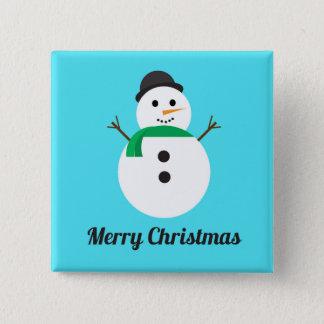 Merry Christmas Snowman Square Holiday Button