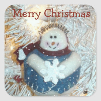 Merry Christmas Snowman Stickers