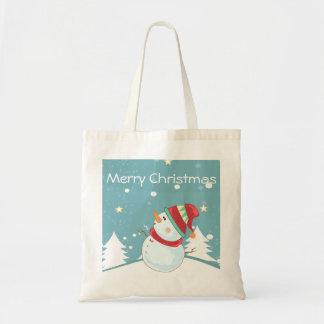 Merry Christmas Snowman Tote Budget Tote Bag