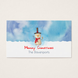 Merry Christmas Snowman Waving And Smiling Business Card