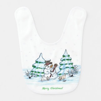 Merry Christmas! Snowman with Cat and Puppy Bib