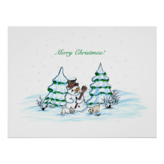 Merry Christmas! Snowman with Cat and Puppy Poster