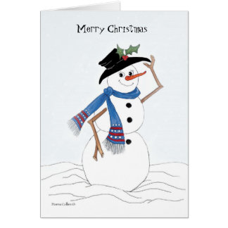 Merry Christmas Snowman with Holly Card