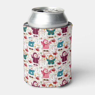 Merry Christmas Snowmen Can Cooler
