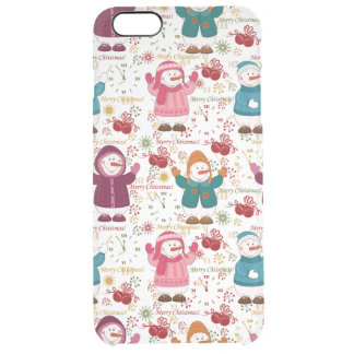 Merry Christmas Snowmen Clear iPhone 6 Plus Case