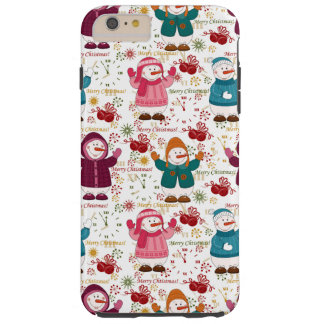 Merry Christmas Snowmen Tough iPhone 6 Plus Case