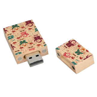 Merry Christmas Snowmen Wood USB 2.0 Flash Drive