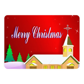 Merry Christmas Snowy Red Peaceful Winter Church Card