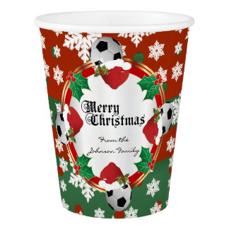 Merry Christmas Soccer Lovers Paper Cup