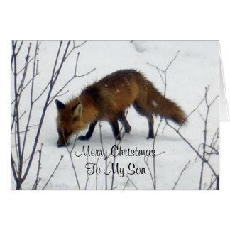 Merry Christmas Son-Fox in Snow Card