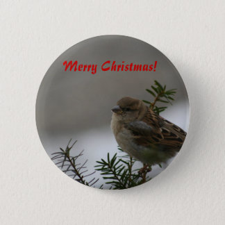 Merry Christmas, Sparrow 6 Cm Round Badge