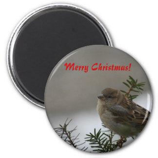 Merry Christmas, Sparrow 6 Cm Round Magnet