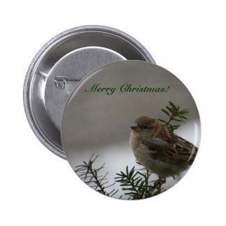 Merry Christmas Sparrow Buttons