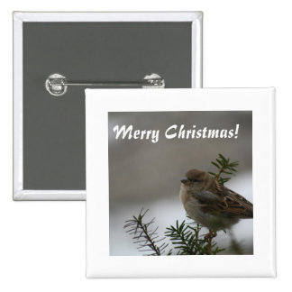 Merry Christmas Sparrow Pinback Buttons