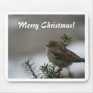 Merry Christmas, Sparrow Mouse Pad