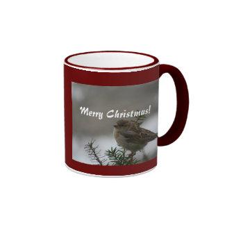 Merry Christmas, Sparrow Coffee Mugs