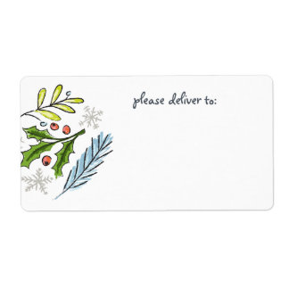 Merry Christmas Spruce Boughs Blank Shipping Label
