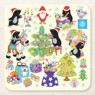 Merry Christmas Square Paper Coaster