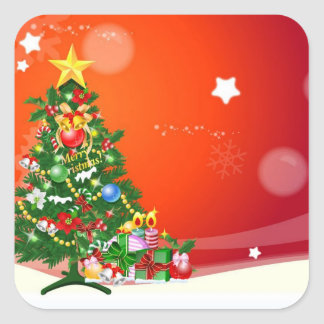 Merry Christmas Square Sticker