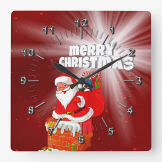 Merry Christmas Square Wall Clock