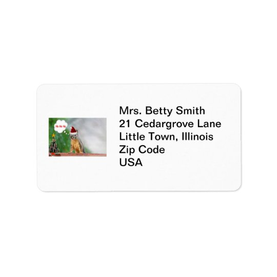 Merry Christmas Squirrel Saying Ho Ho Ho! Address Label
