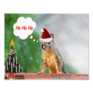 Merry Christmas Squirrel Saying Ho Ho Ho! Photo Art