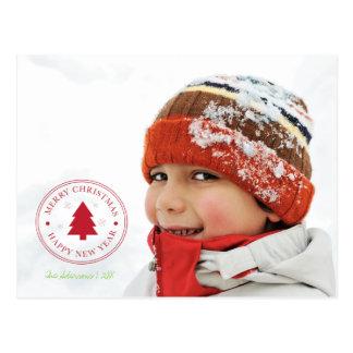 Merry Christmas Stamp Holiday Photo Postcard