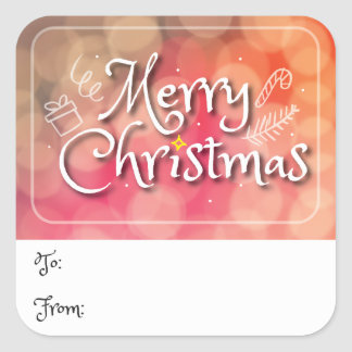Merry Christmas Standard Gift Tag Sticker