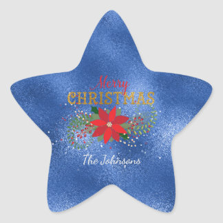 Merry Christmas Star Emerald Blue Glass Star Sticker