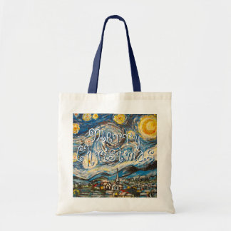 Merry Christmas Starry Night after Van Gogh Canvas Bags