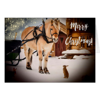 Merry Christmas starry night at farm with horse Card