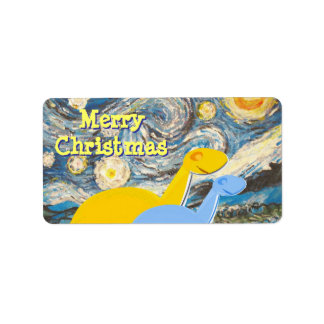 Merry Christmas Starry Night Dinos Label Stickers
