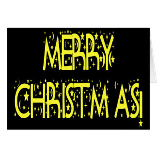 Merry Christmas Starry Night Font Cards