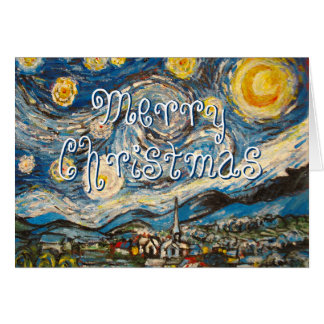 Merry Christmas Starry Night Van Gogh repainted Greeting Card