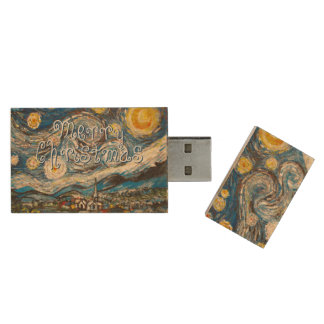 Merry Christmas Starry Night Van Gogh repainted Wood USB 2.0 Flash Drive