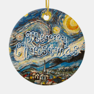 Merry Christmas Starry Night Vincent Van Gogh Ceramic Ornament