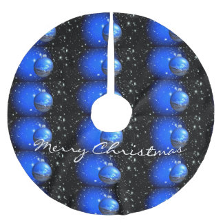 merry christmas starry sky brushed polyester tree skirt