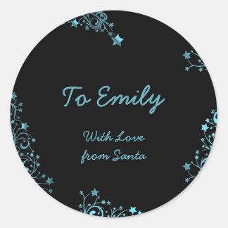 Merry Christmas Stars Black Blue Shiny Chic Name Classic Round Sticker
