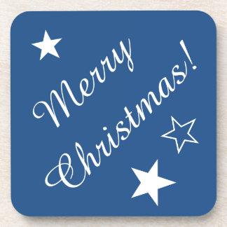 Merry Christmas Stars Blue White Customizable Text Coasters