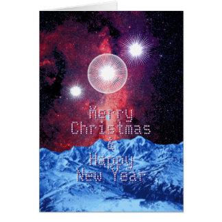 Merry Christmas Stars Galaxy Mountains Space Art Card