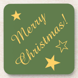 Merry Christmas Stars Green Gold Customizable Text Coasters