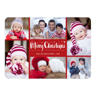 Merry Christmas Stars Holiday Photo Collage Card 13 Cm X 18 Cm Invitation Card
