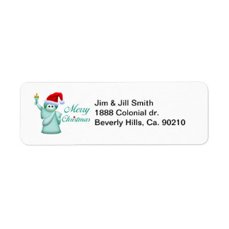 Merry Christmas Statue Of Liberty Return Address Label