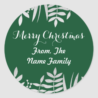 Merry Christmas Sticker Labels Green & Silver Xmas