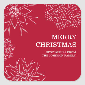 Merry Christmas Stickers - Envelope Seals - Red