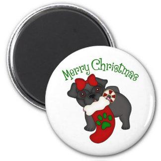 Merry Christmas Stocking Black Pug 6 Cm Round Magnet