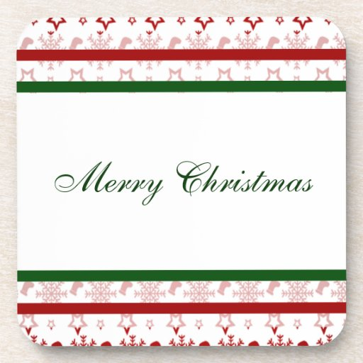 Merry Christmas Stockings and Snowflakes Beverage Coasters