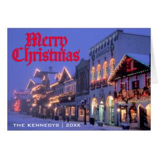 Merry Christmas - Street Christmas lights at night Greeting Card